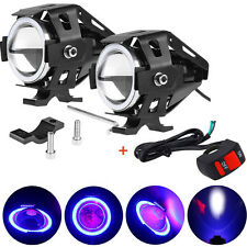 Pair 125W CREE U7 LED Motorcycle Driving Fog Light Spot Headlight Blue 3000LM