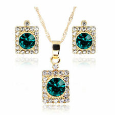 Green Color Crystal Pendant Necklace Earring Rhinestone Gold Chain Jewelry Set