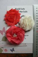 ORANGE /& ROYAL Fabric Satin Organza /& Lace 5 Flower Pk 25-70mm NjoyfullCrafts O4