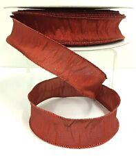 "Satin Wired Ribbon~Red, Metallic Threads~1 1/2"" W x 50 Yards"