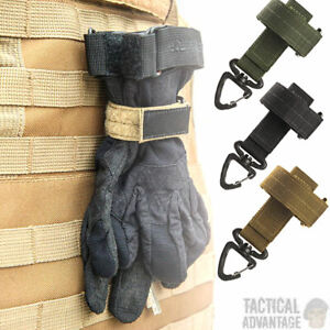 Tactical Molle Glove Holder Lanyard Strap Buckle Belt Hook Rope Airsoft Army UK