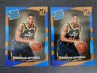 DONOVAN MITCHELL RC 2017-18 DONRUSS RATED ROOKIE CARD LOT OF 2 #188 UTAH JAZZ
