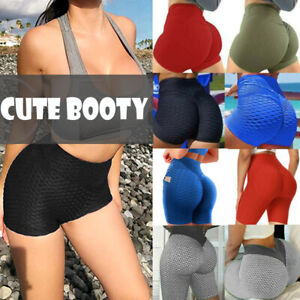 Ladies Yoga Pants Sports Shorts High Waist Fitness Bubble Push Up Sexy Booty Gym