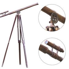 Master harbor Floor Wooden Tripod Floor Standing Vintage Antique Brass Telescope
