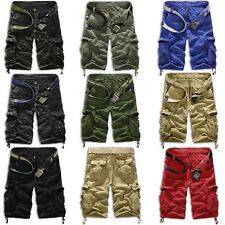 Mens Army Combat Cargo Multi-Pocket Shorts Military 3/4 Trousers Casual Pants US