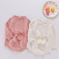 Newborn Cute Baby Girl Boy Knitted Infant Overall Bodysuit Clothes Outfit Romper