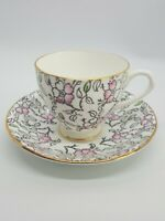 English Castle Bone China Teacup  Saucer Pink Green Gray Flowers Gold Trim
