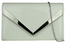 Womens Classic Plain Elegant Frame Patent Faux Leather Clutch Bag Glossy Handbag