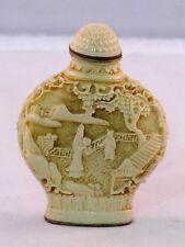 Beinlack Chinese Snuff Bottle Schnupftabakflasche mit Figuren in der Landschaft