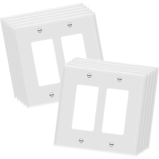 10 PACK 2-GANG UNBREAKABLE DECORATOR/DECORA/GFCI WALL PLATE OUTLET COVER, WHITE