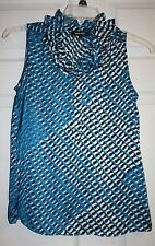 Womens Ladies Nine West Teal Multi Ruffle Neck Sleeveless Top Blouse Size Small
