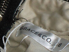 GRACE&Co NudeLinedSexyBlk65%CottonLacePartyMini Size8 NWT