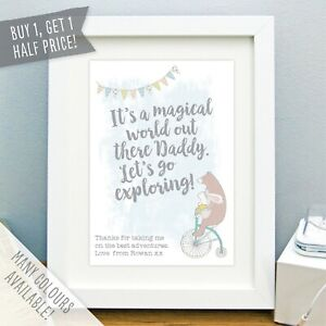 Personalised Daddy Bear Print Fathers Day Poster Bunting Best Dad Picture Gift