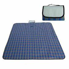 "79"" x 59"" Outdoor Picnic Blanket Rug Waterproof Camping Beach Mat Pad Plaid Blue"