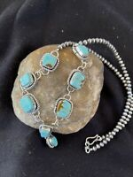 LARIAT Navajo Handmade Long Sterling SILVER TURQUOISE#8 Necklace Pendant 1111