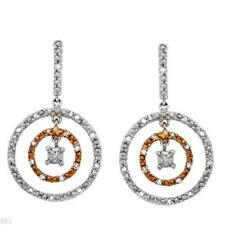 SUMPTUOUS CIRCLE EARRINGS TWO TONE GOLD  WITH GENUINE 0.16 CTW DIAMONDS. NEW