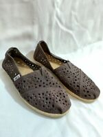 Toms Classic Slip On Flats Shoes Brown Leather Laser Cut Out Detail Woman Sz 7