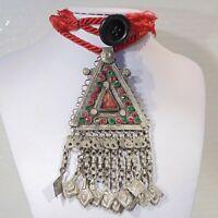 Vintage tribal belly dance handmade Kochi Banjara pendant red cord necklace #2