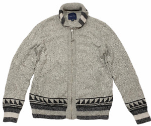 NWT AMERICAN EAGLE Men's Cardigan Sweater Sz M-L Full Zip Gray Polar Bear