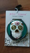 Betsey Johnson Multi-Stone Sugar Skull Compact Mirror Teal