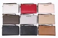 Michael Kors JET SET Double Zip Wristlet Phone Case Wallet Signature Ballet
