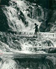 1979 Jamaican Girl Stands on Watery Ledge at Falls Original News Service Photo