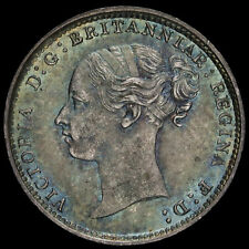 More details for 1883 queen victoria young head silver threepence, unc