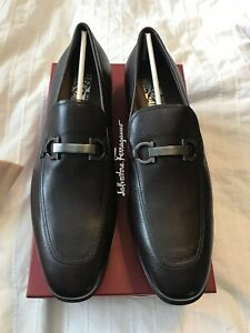 New Auth Salvatore Ferragamo Borges Men Brown Leather Loafers Shoes 13 $795