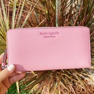 Kate Spade Cameron Neda Zip Around Continental Wallet Bright Carnation Pink