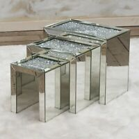 Mirrored Coffee Table Nest of Tables Crushed Crystal Diamond Living Room Stand u