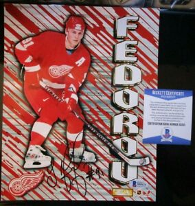 SERGEI FEDOROV SIGNED 1997 DETROIT RED WINGS 8x10 PHOTO BECKETT BAS COA S50121