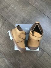 New Zara Mini Baby Boys Brown Leather First Shoes Size UK 3 Infant EUR 19