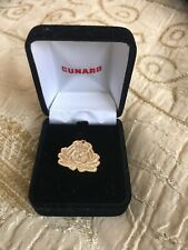 CUNARD Ocean Liner Member's Gold Pin Badge With Drawstring Pouch