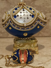 Arabian Night Something blue gift box Music Faberge egg Trinket Saphire 24k Gold