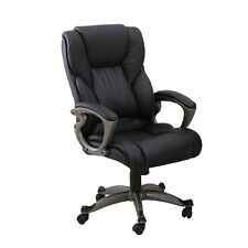 Black PU Leather High Back Office Chair Executive Task Ergonomic Computer Desk%