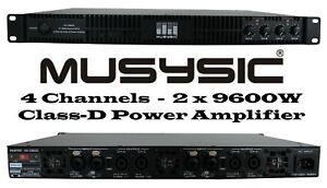 MUSYSIC Professional 4-Channels 2x9600 Watts D-Class 1U Power Amplifier MU-D9600