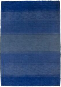 Contemporary Blue Striped Hand-Loomed 4X6 Gabbeh Oriental Area Rug Wool Carpet