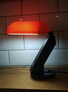 Vintage 1980s Orange and Black Desk Lamp - Folding Desk Lamp - Pelican Lamp