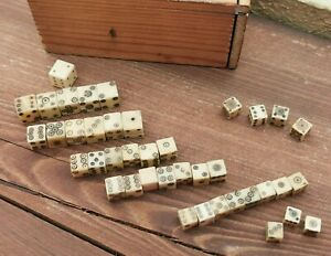 OLD VTG COLLECTION OF 40 STONE & BONE MINIATURE ROMAN STYLE DICE WITH WOODEN BOX