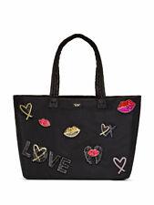 Victoria's Secret Tote Bag Runway Black Patch Weekender Large Sequins