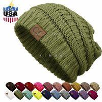 Bubble Knit Slouchy CC Baggy Beanie Oversize Winter Hat Ski Cap Skull Women