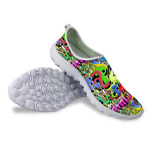 Graffiti Women Ladies Running Shoes Mesh Breathable Sneakers Ultralight Shoes