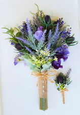 Rustic Boho Lavender Bouquet  Purple Spring Flower Bouquet Silk Wedding Bouquet