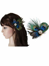 Vintage Peacock Feather Fascinator Wedding Hair Clip Bridal Festival Party Boho