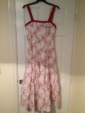 KALIKO DEBENHAMS White Pink Floral Floaty Cotton Party Wedding Dress Size 10
