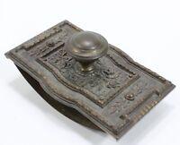 VTG Antique Ornate Brass? Metal Hand Palm Sander Ink Blotter? Wood Woodworking
