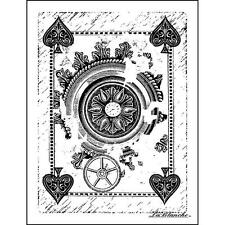 New LA BLANCHE Silicone Rubber Stamp PLAYING CARD BACK VINTAGE  free USA ship