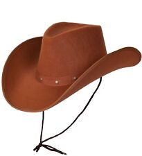 Mens  Adult Texan Cowboy Deluxe Fancy Dress Hat Brown Durable Hat New W