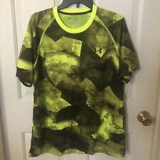 Under Armour Heat Gear Loose Men's Green/Black Short Sleeve Shirt Size Large