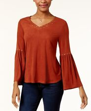 Style & Co Studded Faux-Suede Top in Rich Auburn, Medium